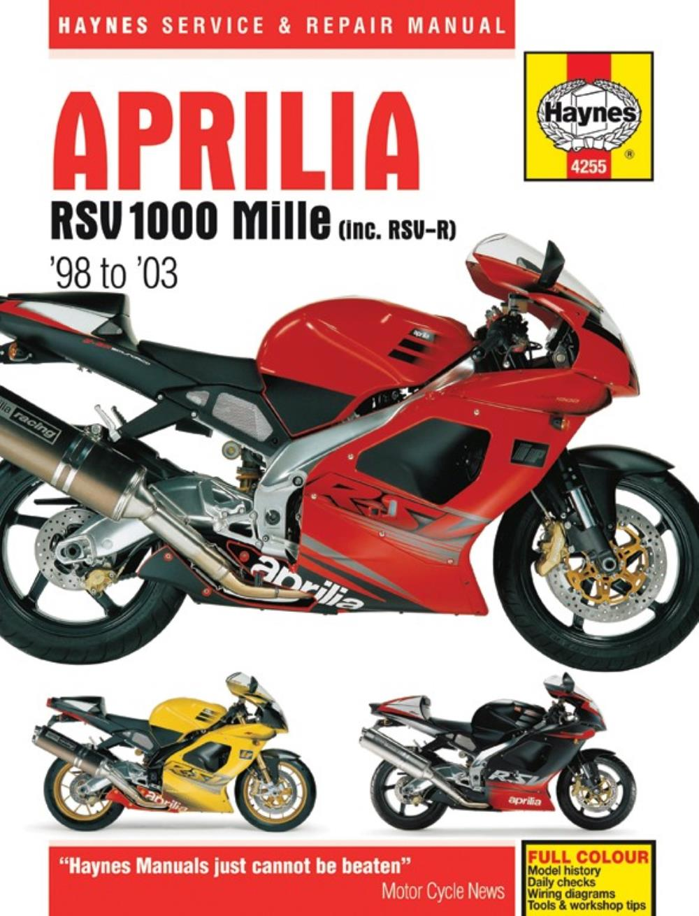 0000217_workshop manual aprilia rsv1000 mille 1998 2003 manual haynes for 2002 aprilia rsv 1000 r mille ebay 2002 aprilia rsv mille wiring diagram at mr168.co