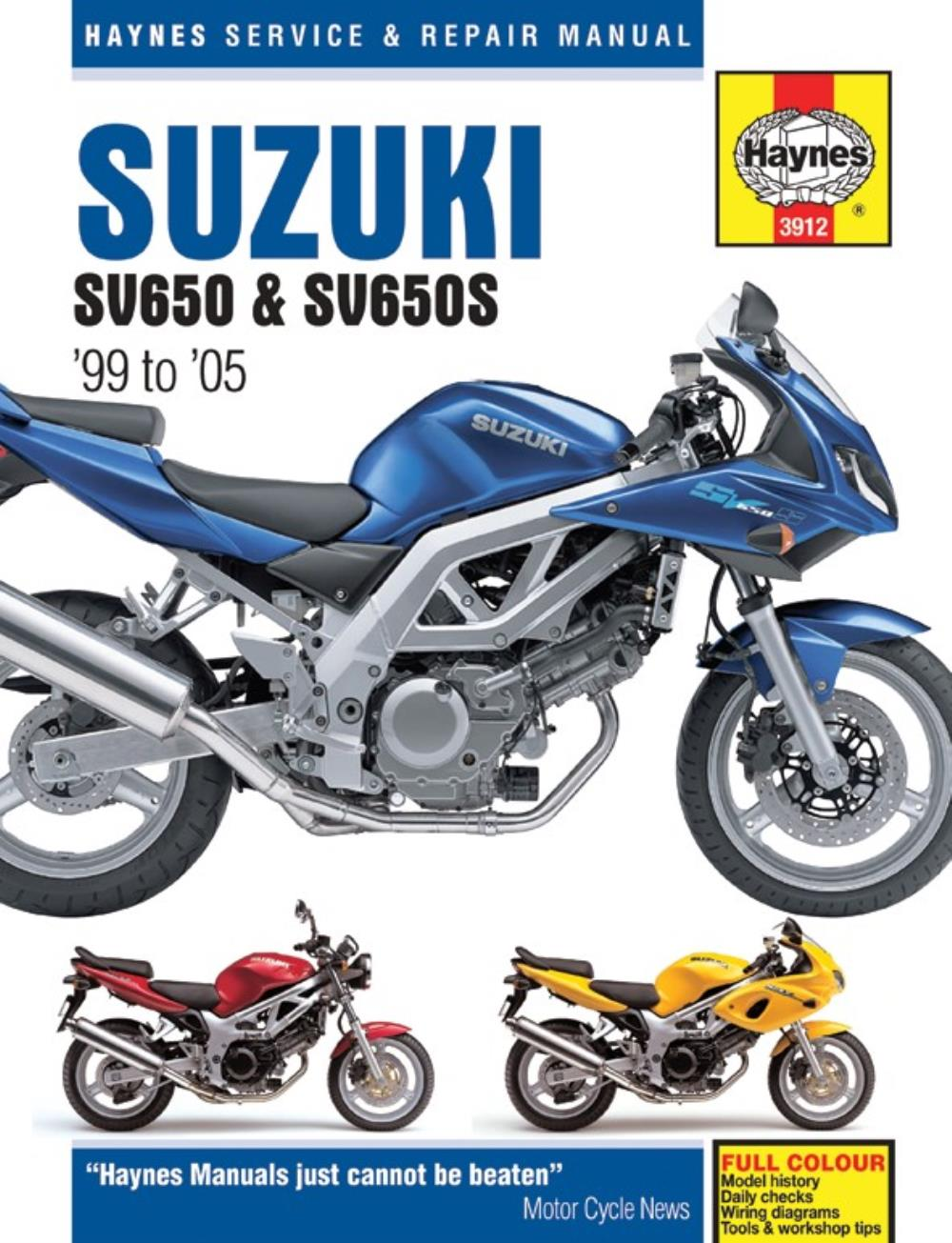 manual haynes for 2000 suzuki sv 650 y naked no abs ebay rh ebay co uk 2000 sv650 service manual 2000 sv650 service manual