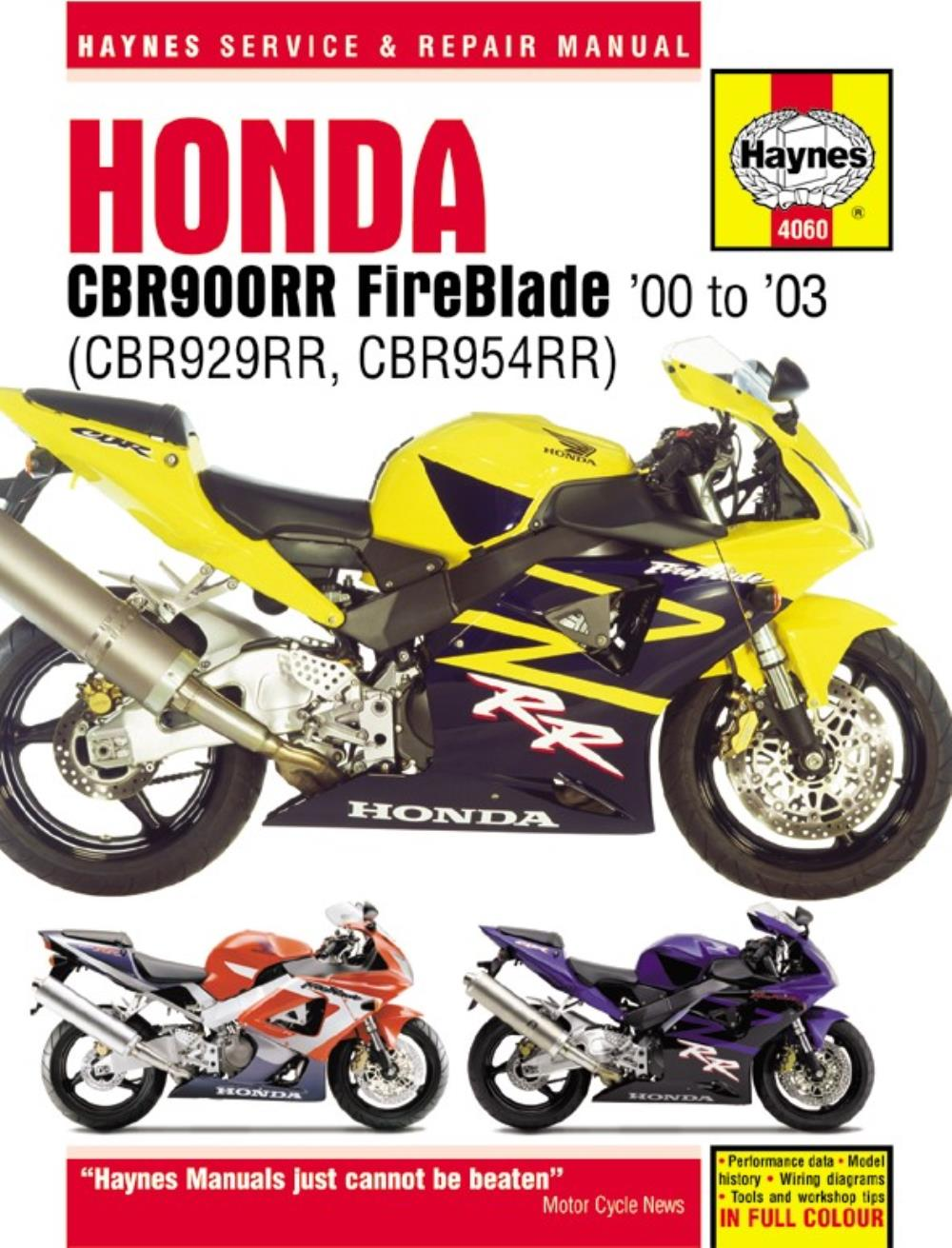 Image is loading Haynes-Manual-4060-Honda-CBR900RR-00-ON-SPECIAL