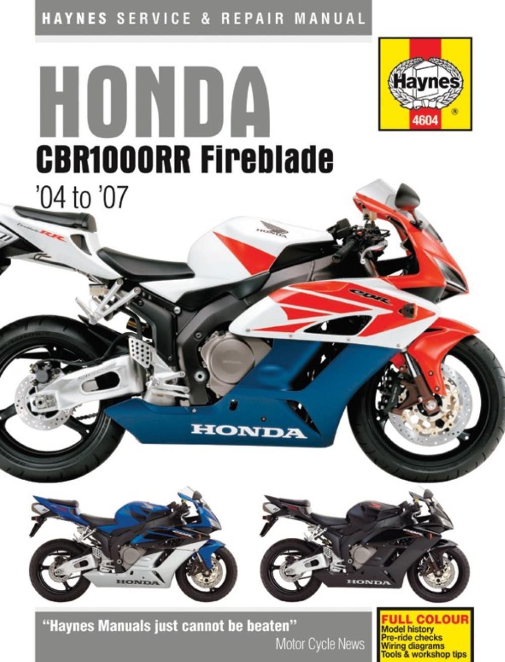 Manual Haynes For 2006 Honda Cbr 1000 Rr6 Fireblade Ebay Wiring Diagram