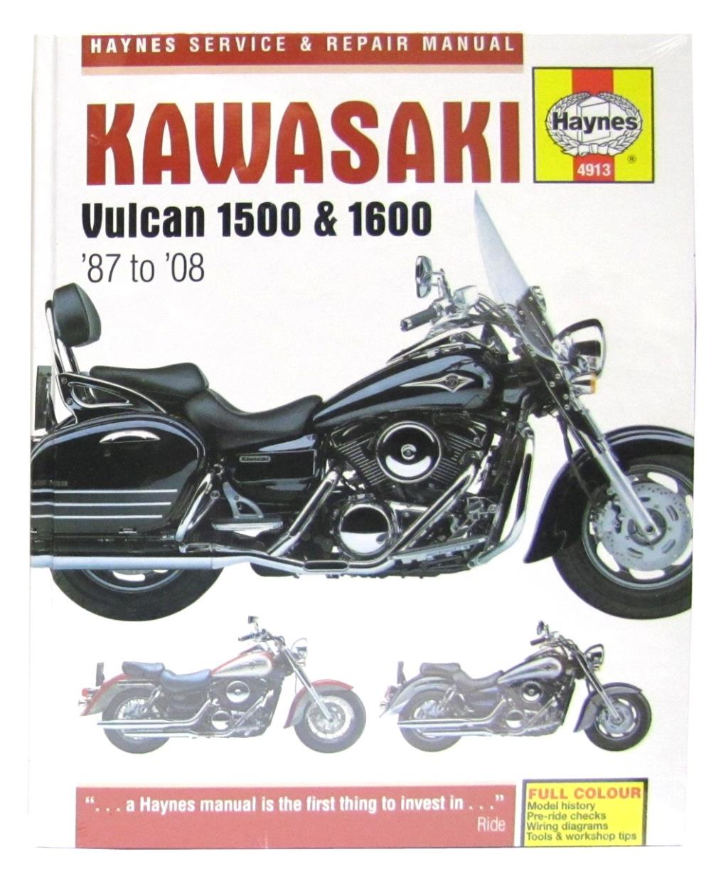 haynes manual 4913 kawasaki vulcan 1500 1600 87 08 ebay rh ebay co uk kawasaki vulcan 1500 nomad service manual 1999 kawasaki vulcan 1500 owners manual