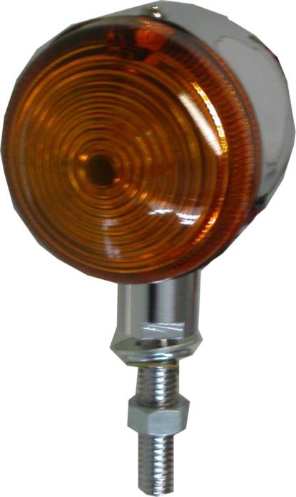 "Picture of Bullet Light Chrome with Amber Lens, 1"" Stem & No Rim"