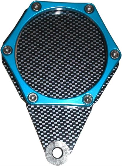 Picture of Tax Disc Holder Hexagon Carbon Look 6 Studs Blue Rim