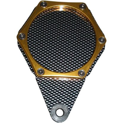 Picture of Tax Disc Holder Hexagon Carbon Look 6 Studs Gold Rim