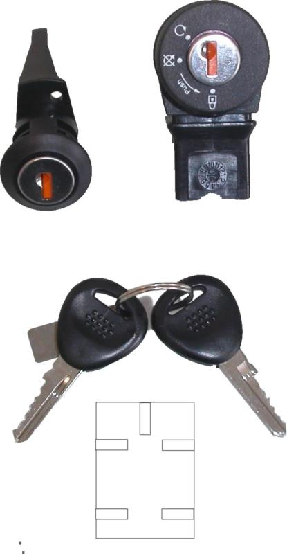 Picture of Ignition Switch & Seat Lock Peugeot Buxy, Zenith 5 Pin