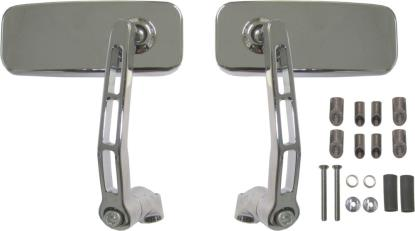 Picture of Mirror Bar End Chrome Rectangle 120mm x 50mm (Pair)