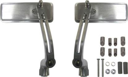 Picture of Mirror Bar End Silver Rectangle 130mm x 50mm (Pair)