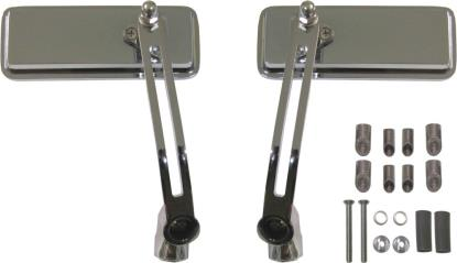 Picture of Mirror Bar End Chrome Rectangle 130mm x 50mm (Pair)