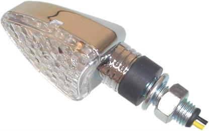 Picture of Complete Indicator LED Arrow Chrome Short Stem with Clear Lens E-Marked (Pair)